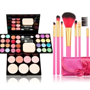 Time-Song-Professional-Cosmetic-Makeup-Palette-Fard--Paupires-Set-Kit-include-Blusher-Face-Powder-Lip-Gloss-Makeup-Brushes-Set-7pcs-rose-Brushes-by-Time-Song-0