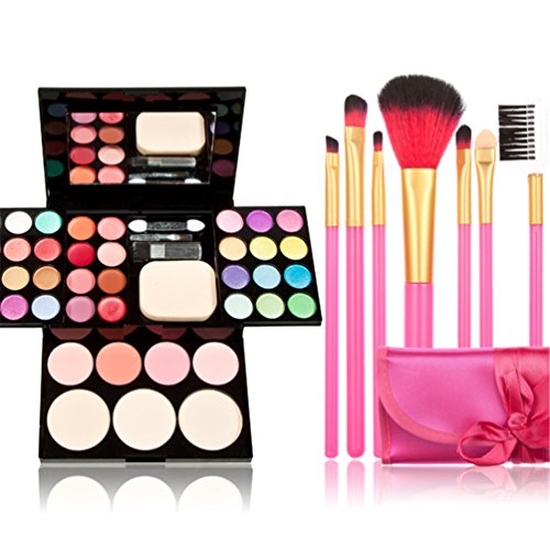 Time-Song-Professional-Cosmetic-Makeup-Palette-Fard–Paupires-Set-Kit-include-Blusher-Face-Powder-Lip-Gloss-Makeup-Brushes-Set-7pcs-rose-Brushes-by-Time-Song-0
